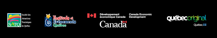 Logos: Société des Attractions Touristiques du Québec, Festivals Événements Québec, Canada Economic Development, Québec Original